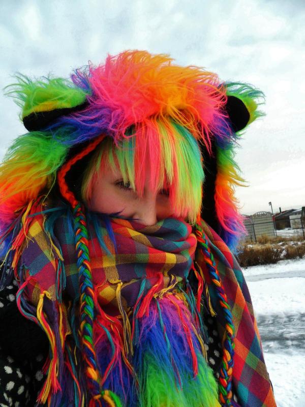 Fuzzy  rainbow bear scarf hood by ScruffyFluffy