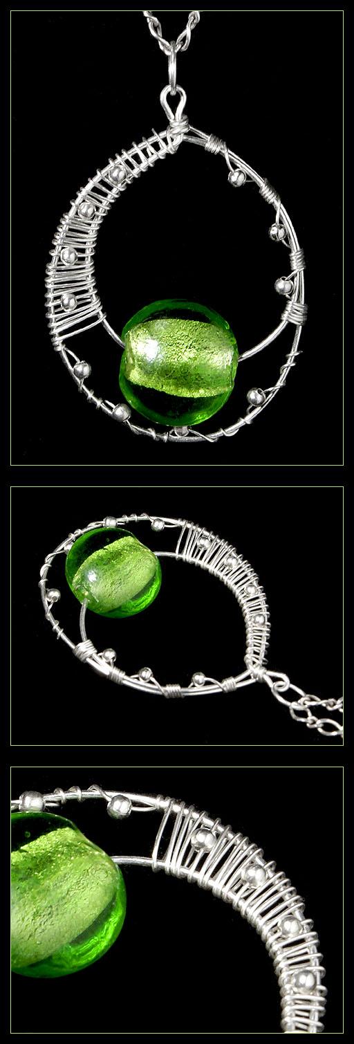 Green Lampwork - pendant by AnnAntonina