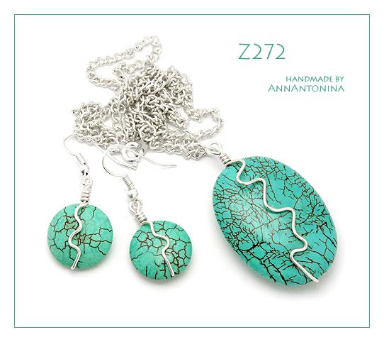 Turquoise Howlite - set Z272 by AnnAntonina