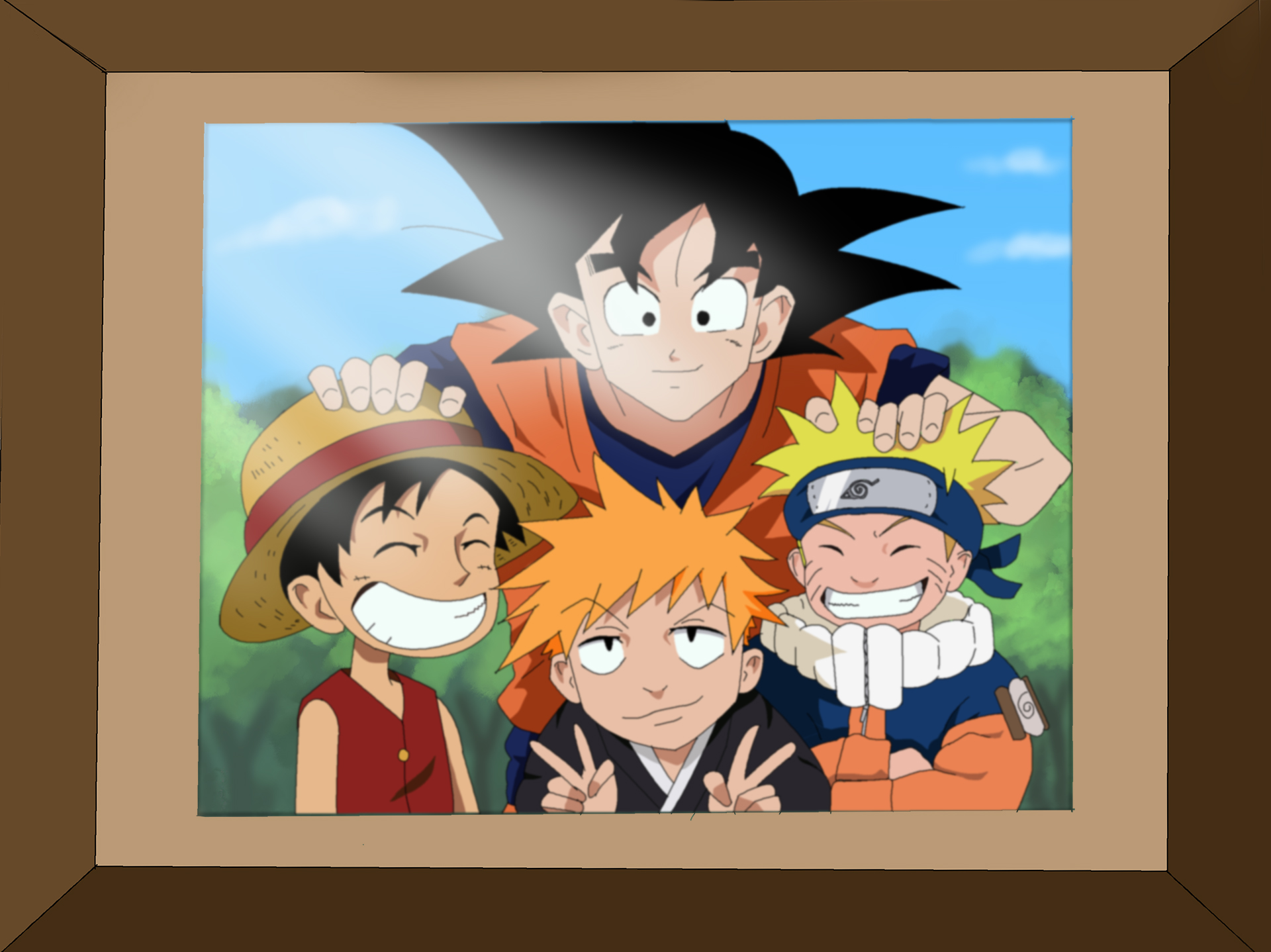Naruto, Goku , Luffy and Ichigo Coloring by Nohealsfoyou ...