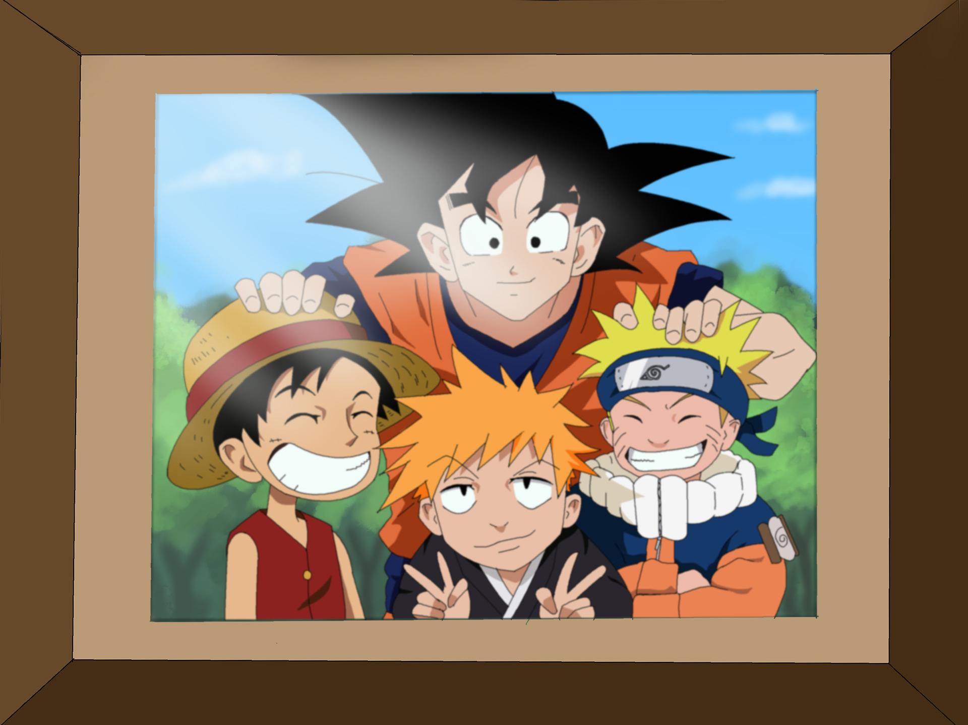 Naruto, Goku , Luffy and  Ichigo Coloring by m8jin12