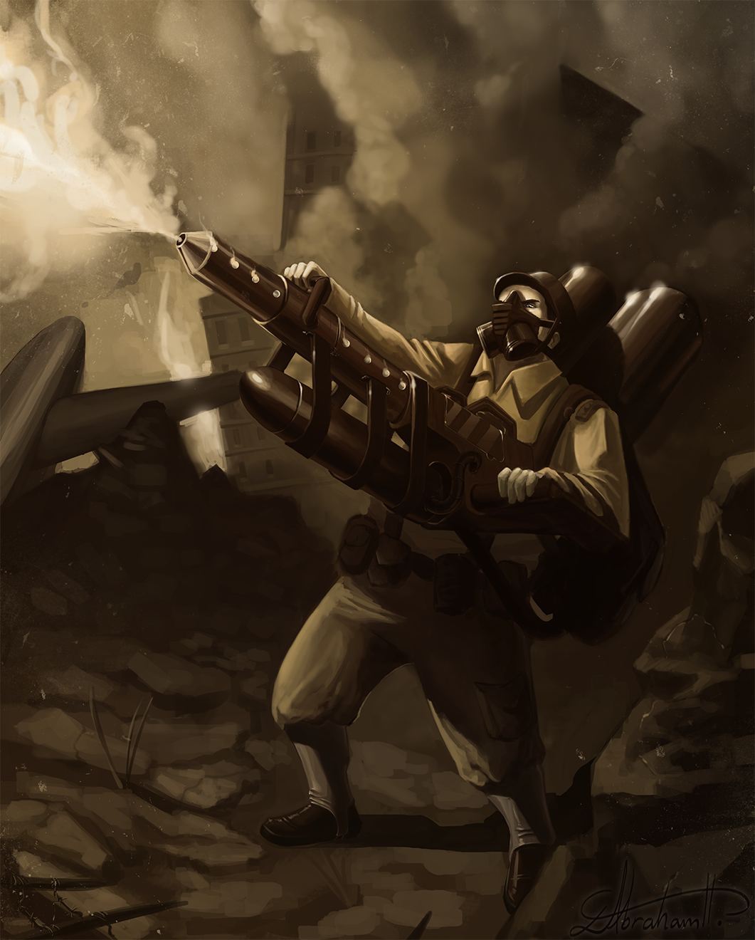 402 dieselpunk heavy weapons trooper1 by abrahamdavid on