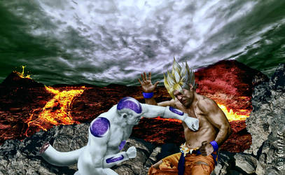 frieza goku fight by devildredd