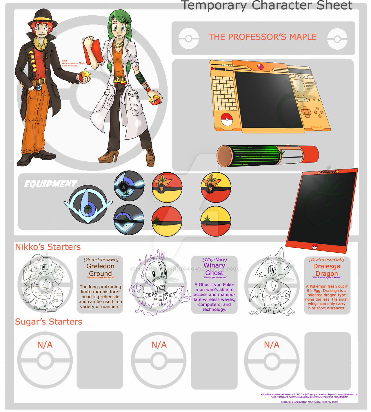 Professor's Maple Temporary Character Sheet by FrogPointPrince