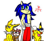 Pokemon Trainer Sonic And His Current Team