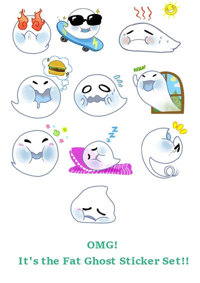 Fat Ghost Sticker Set (LINE + Giphy Contest Entry) by divi
