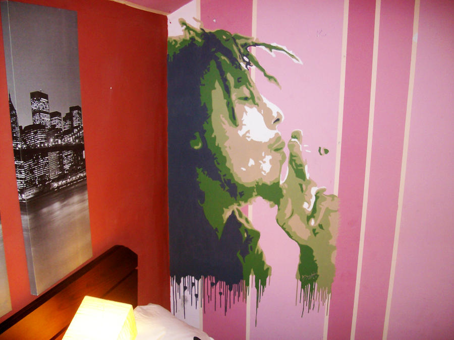 Bob Marley Portrait Painted On A Bedroom Wall By Alin0090