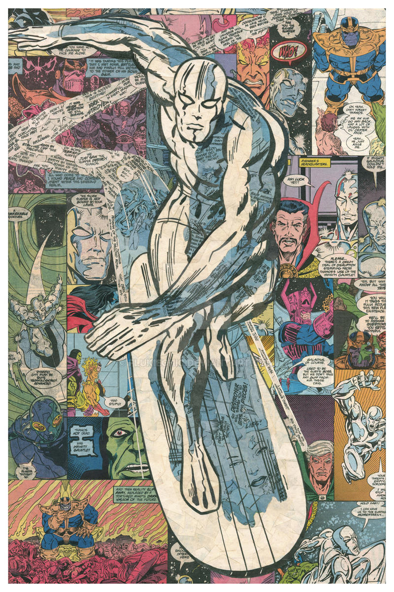 silver surfer comic collage after jack kirby by