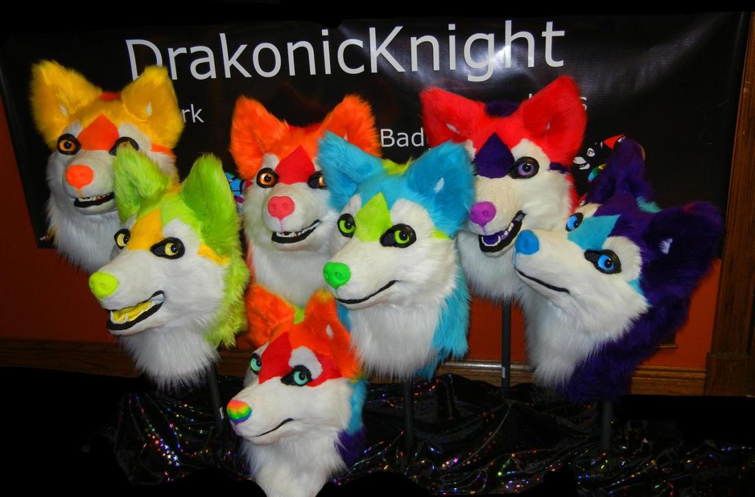 Rainbow husky heads by DrakonicKnight