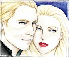 Lucius and Narcissa Malfoy by lyrakristine