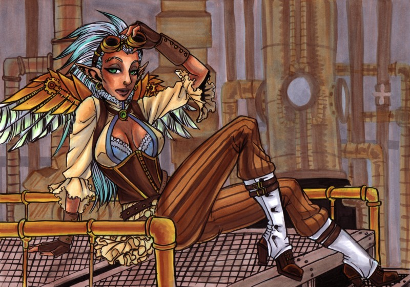 Steampunk Pinup by omegasama