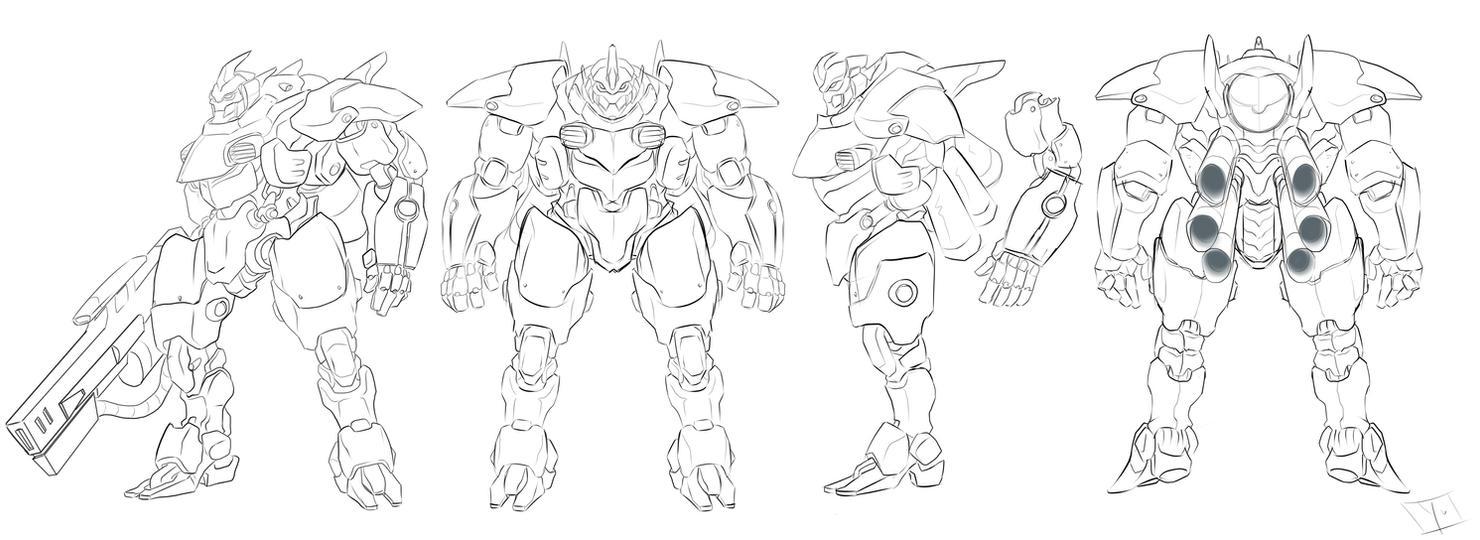 Kaiju - Infestation (Mecha concept) by Ypslon
