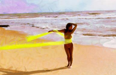 Ariane Barnes On a Nude Beach- II by paulnery