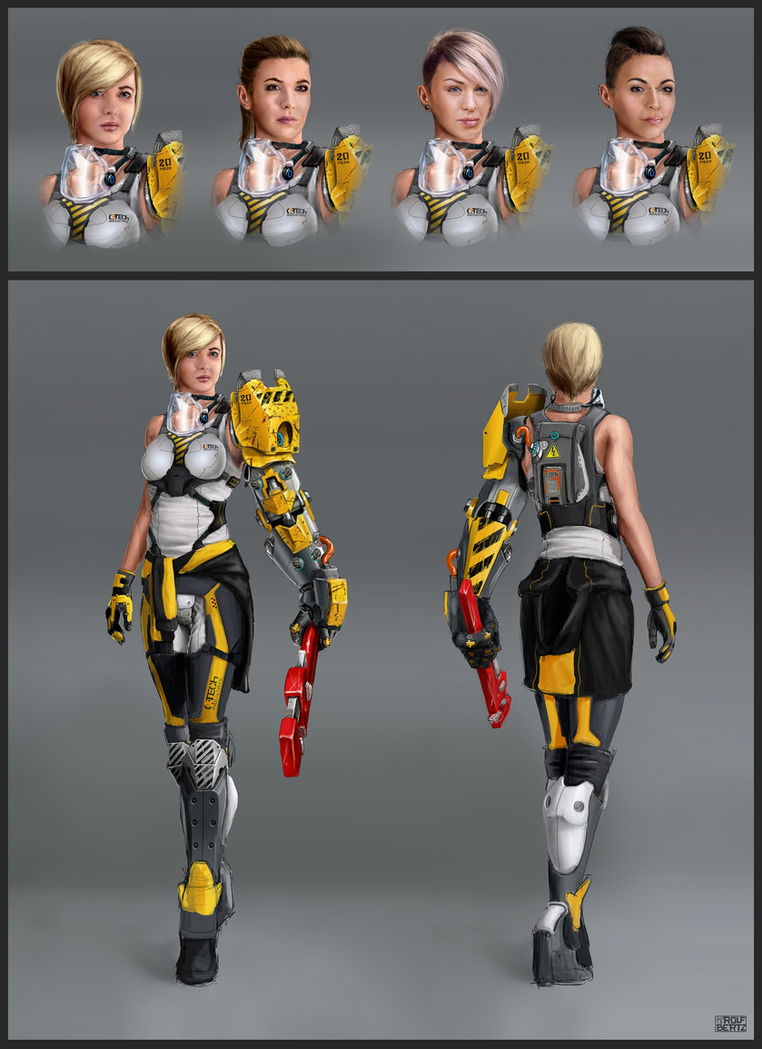 Female Sci-Fi Mechanic by Rofelrolf