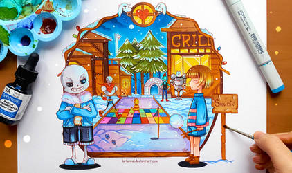 +Undertale - GOOD Time in Snowdin+ by larienne