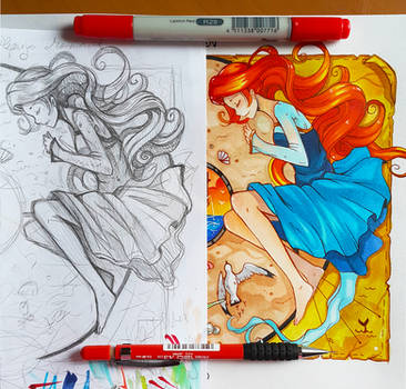 +Sleeping Mermaid - Before and After+