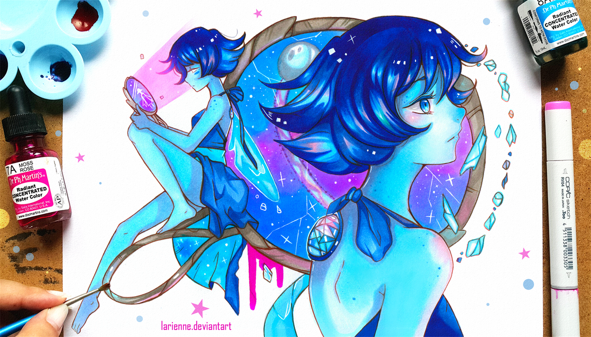 Hey guys! I was informed some people try to steal my art and sell it on clothing websites - please, if you see it let me know. It was this painting and Pokemon GO art I found! I'm Lapis Lazuli! And...