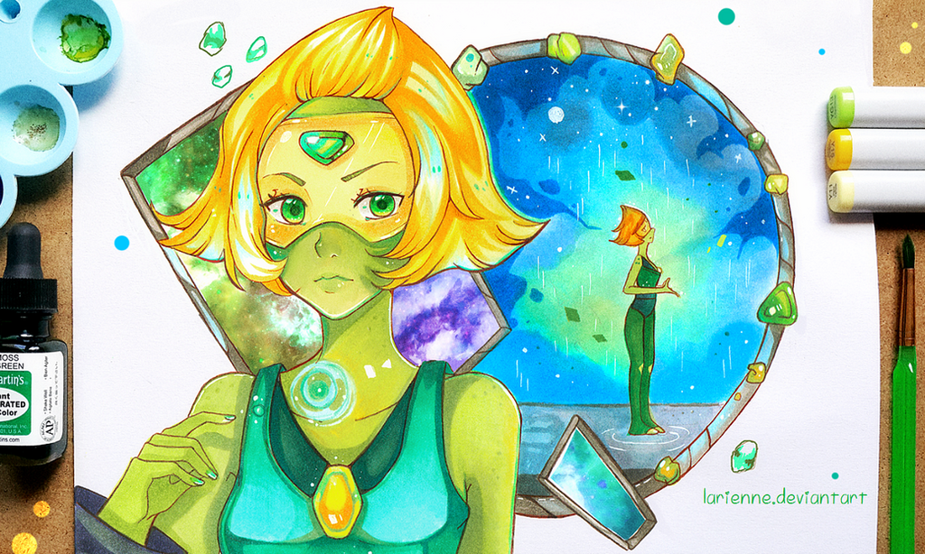 Hello! I finished my Peridot drawing Not everything turned out the way I wanted but ah well here it is! I liked the scene when she saw rain ^o^/ No time to answer comments so I am closing them temp...