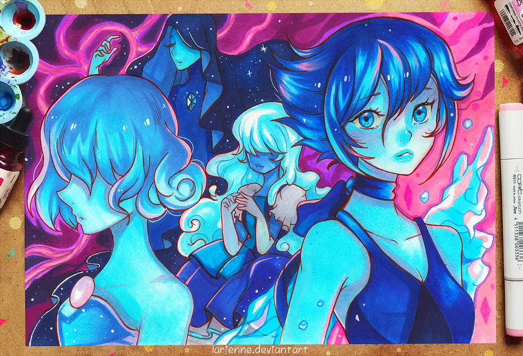 It felt great to finally paint something for myself, and I have wanted to draw the blue gems for a while now it was also quite challenging to do this with markers, the characters are pretty monocol...