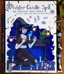 Spellbook : Water Candle Spell by larienne