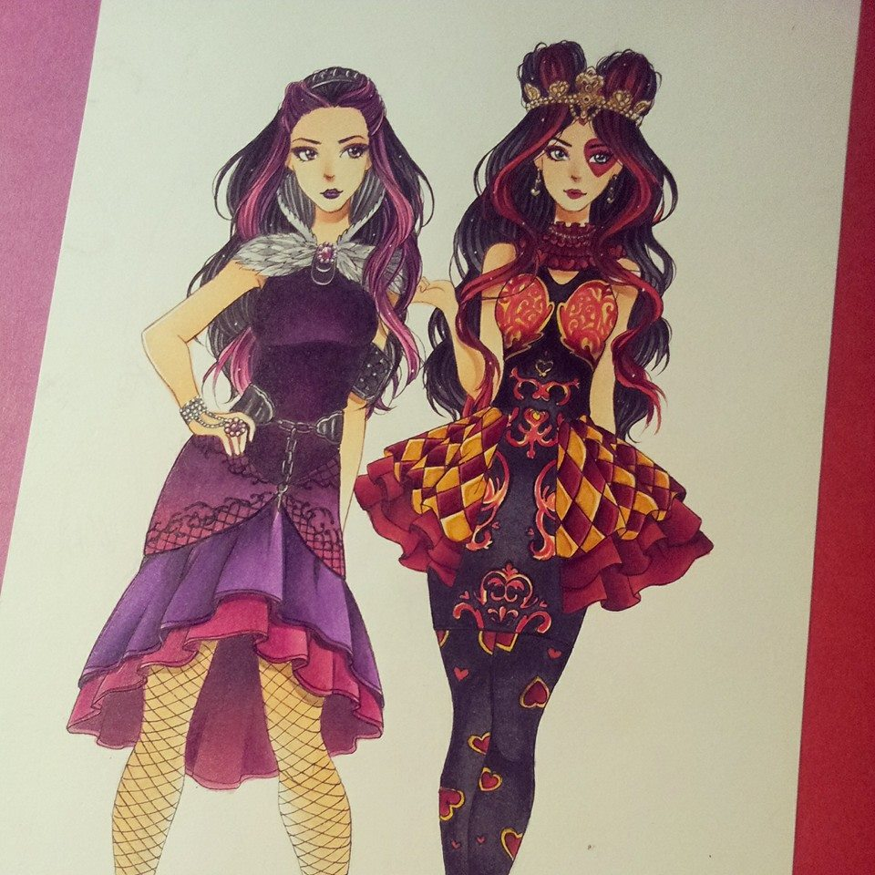 Lizzie hearts coloring page -  Raven Queen And Lizzie Hearts Ever After High By Josilix