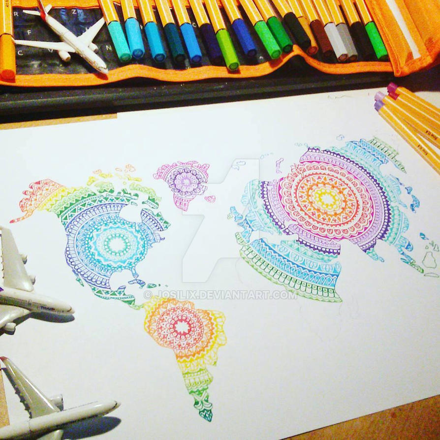 WIP World Map Mandala By Josilix On DeviantArt - Mandala map of the world