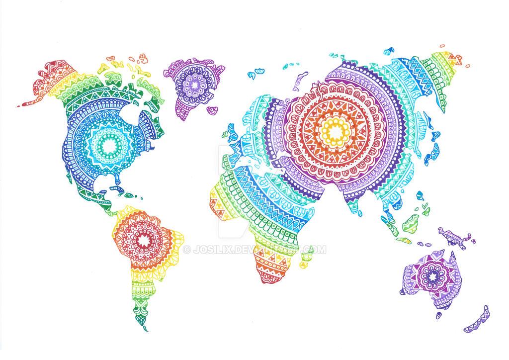 World map mandala by josilix on deviantart world map mandala by josilix gumiabroncs Images