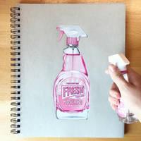Moschino Pink Fresh Perfume Drawing - Realism by Josilix