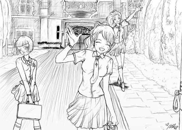 School in England lineart by YummingDoe4