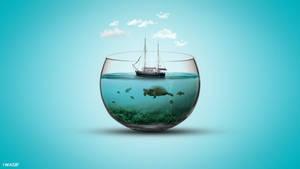 Sea In Bowl Photo Manipulation - I Wasif