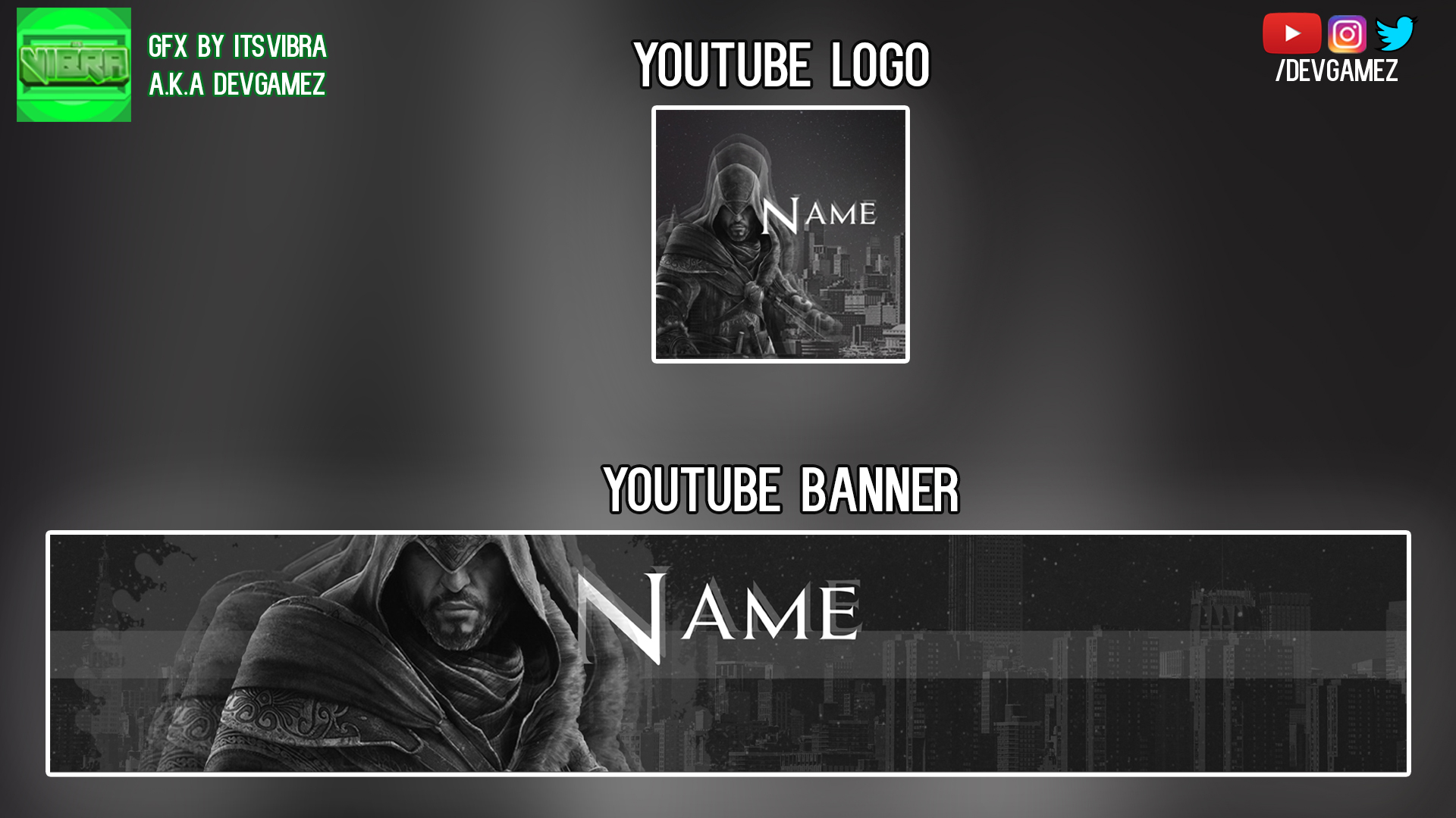 Assassins Creed Youtube Banner And Logo Bundle By Itsvibra On
