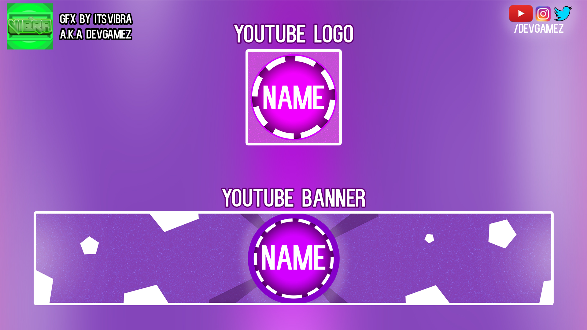 Purple/Starry - YouTube Banner + Logo Bundle! by ItsVibra on DeviantArt