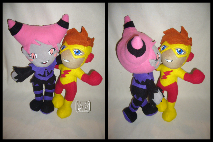 Jinx + Kid Flash Plushies v2.0 by VesteNotus