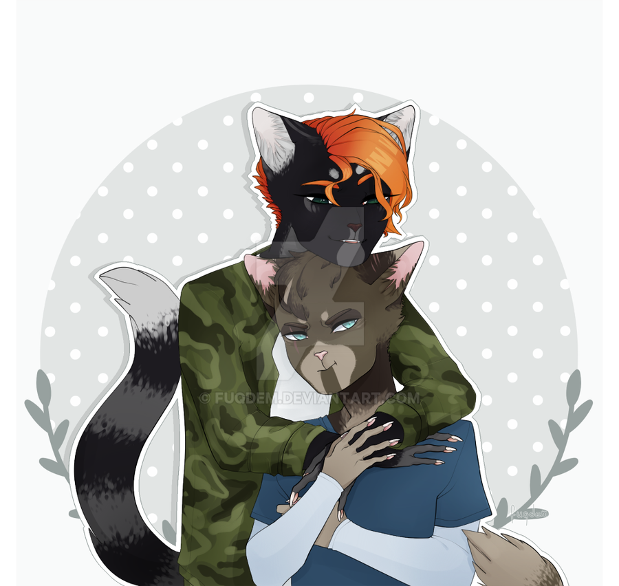 comission on two anthro cats by fuqdem