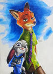 Zootopia Nick WIlde / Judy Hopps colored pencil