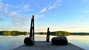 Sunset at lake Saimaa by Lum1pallo
