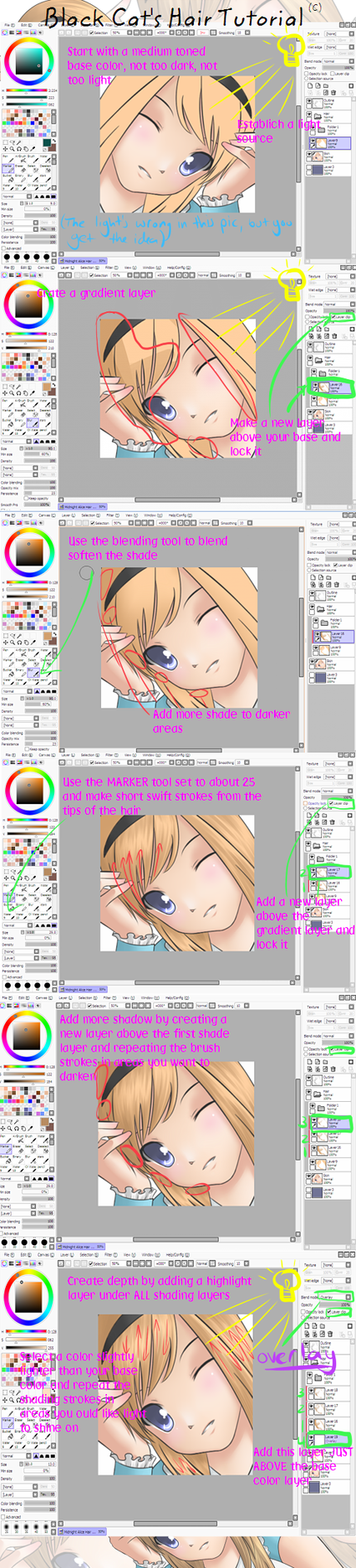 Paint Tool SAI-Hair tutorial by blackcat-productions