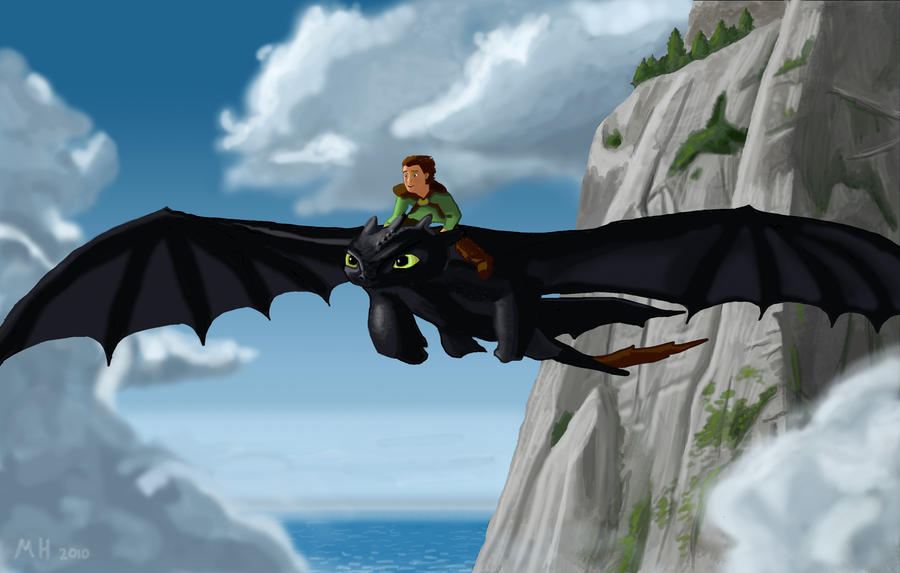 Toothless and Hiccup Flying by MichaelHoweArts on DeviantArt