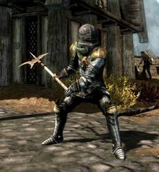 Yvette in heavy armor with halberd (Skyrim)