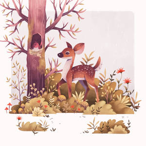 Happy deer in the forest