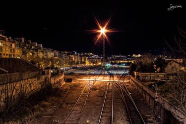 unas vias de tren en Granada