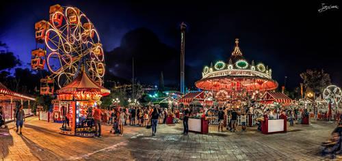 a carousel at the amusement park