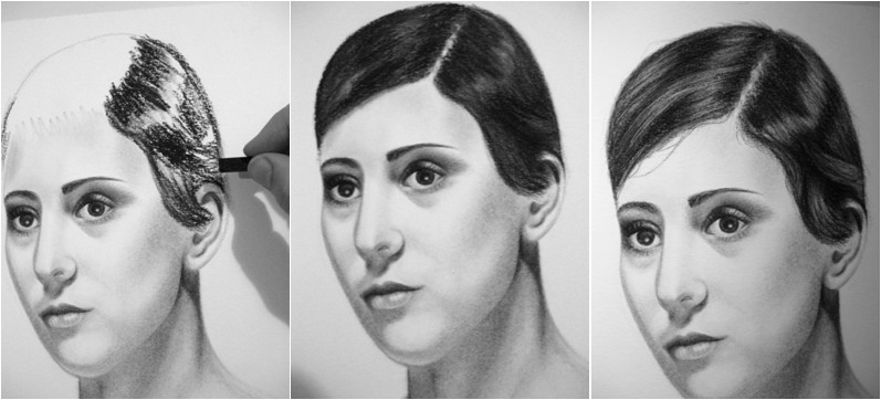how to draw hair with charcoal