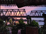 Sunset on the bridge by the floating restaurant by NormaCastaDiva