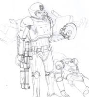 Phase-IV Dark Trooper and a fallen Marine by Imperator-Zor
