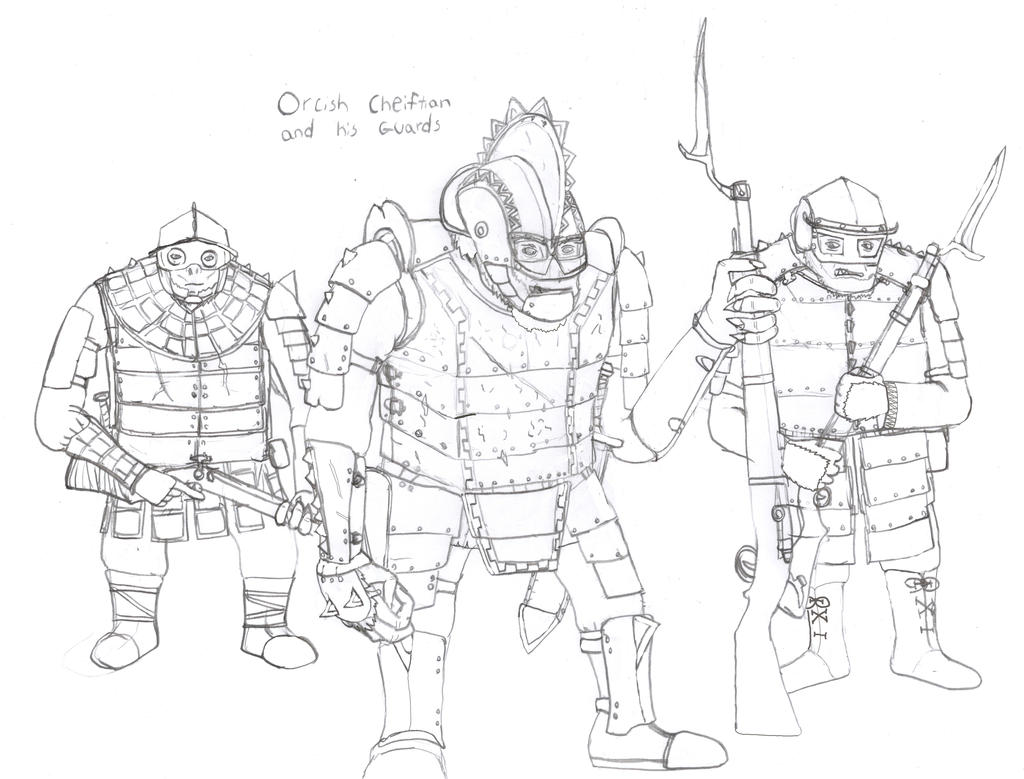 Orcish Chieftain and his Guard by Imperator-Zor