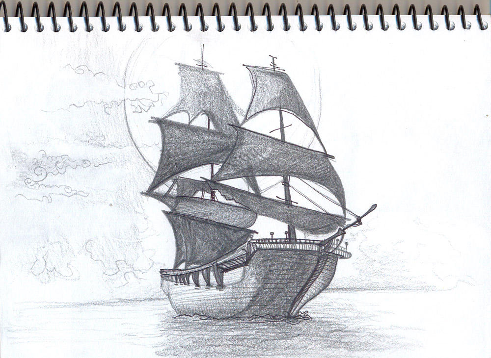 Pirate ship drawing - photo#11