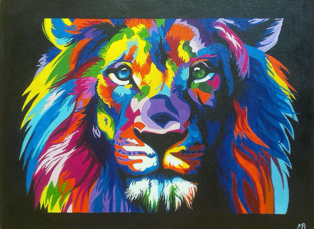 Colorful lion painting - photo#26