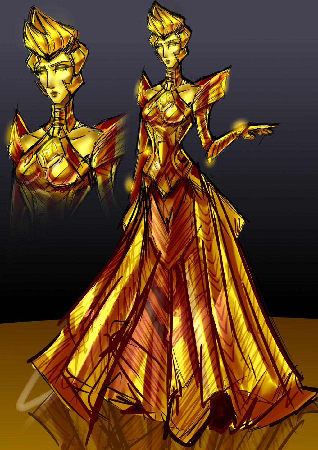 Yellow diamond and ayesha crossover sketch by tenebris for Yellow diamond mural