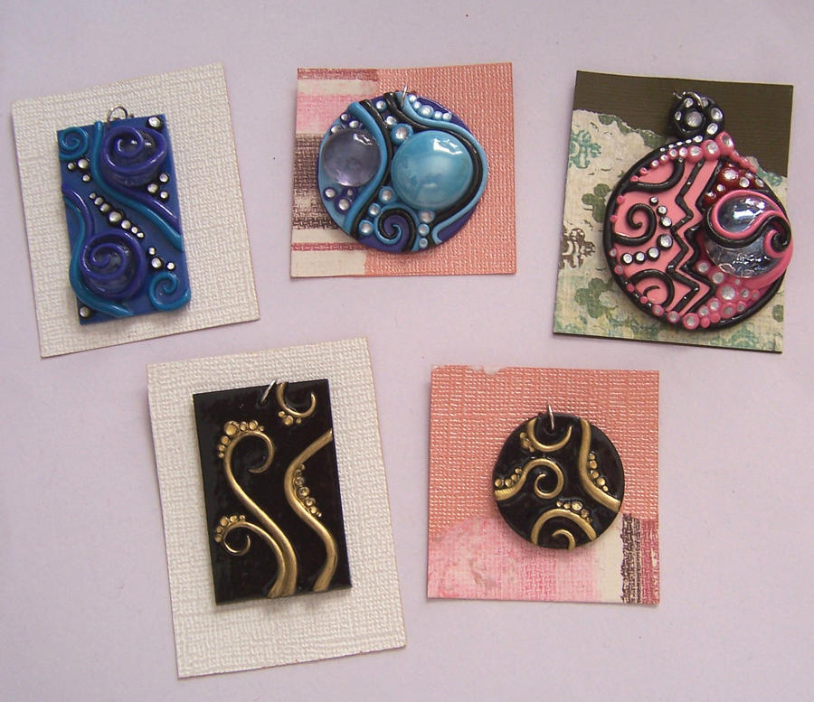 Polymer clay pendants by gimmeswords on deviantart polymer clay pendants by gimmeswords mozeypictures Images